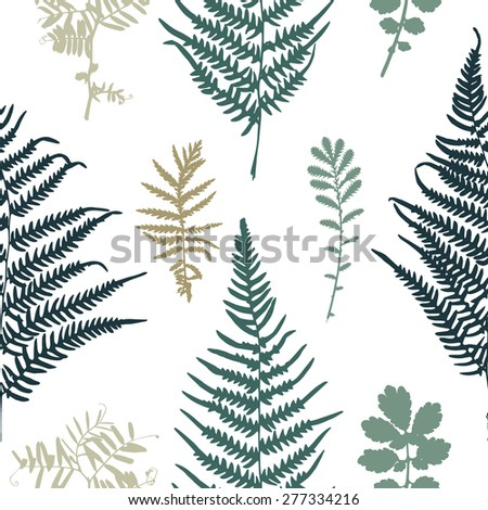 Vector illustration of fern seamless pattern