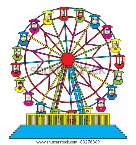 vector illustration of ferris wheel with happy children - stock vector