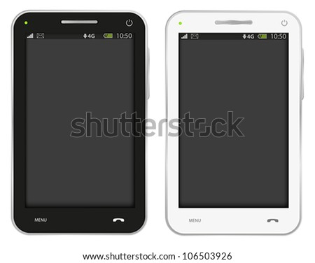Vector Illustration of Fictitious Mobile Phone Isolated on White