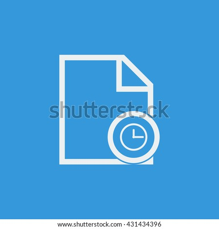 Vector illustration of file time sign icon on blue background.