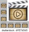 vector illustration of Film Clapboard. Play - stock vector