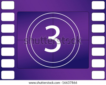 vector illustration of film countdown, number 3