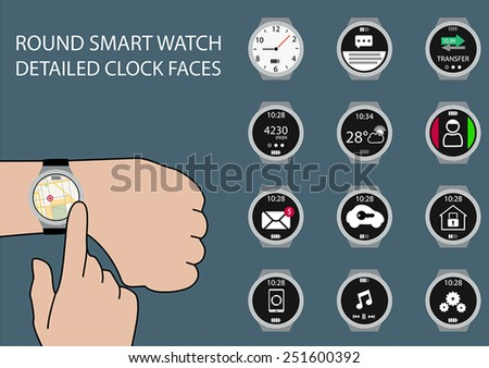 Vector illustration of finger swiping smart watch display on wrist with touch gesture. Multiple smart watch clock faces using flat design to customize the illustration.