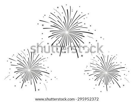 Vector illustration of fireworks black and white  - stock vector