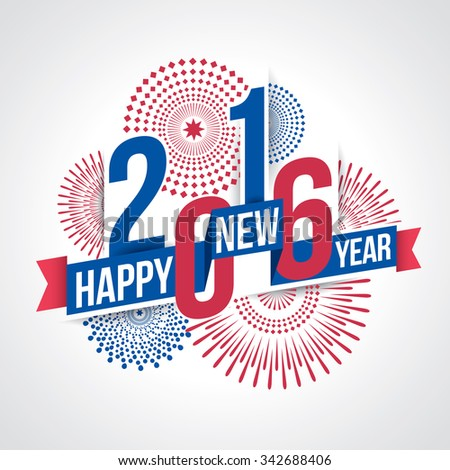 Vector illustration of fireworks. Happy new year 2016 theme - stock vector