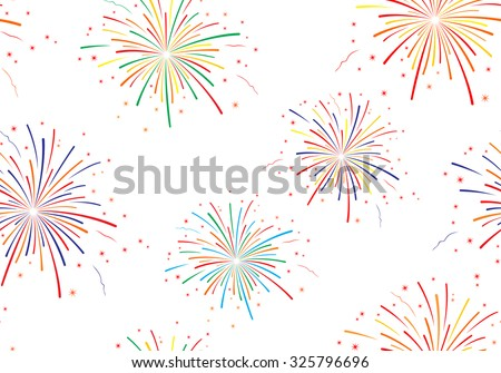 Vector illustration of fireworks on white background. Seamless pattern. - stock vector