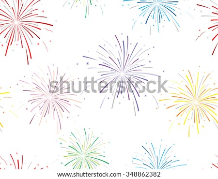 Vector illustration of fireworks on white background. Seamless pattern.