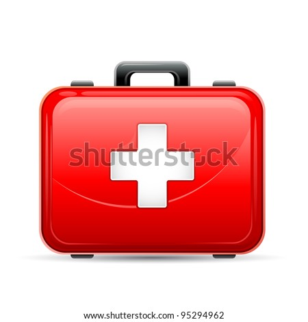 vector illustration of first aid box on white background - stock vector
