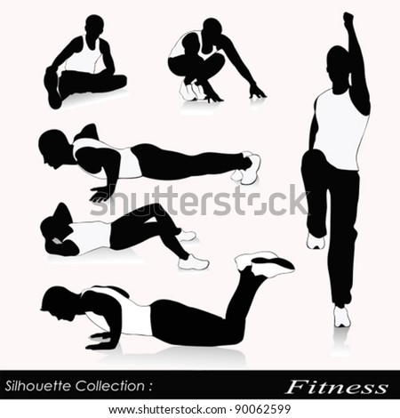 Vector illustration of fitness silhouettes .Men fitness - stock vector