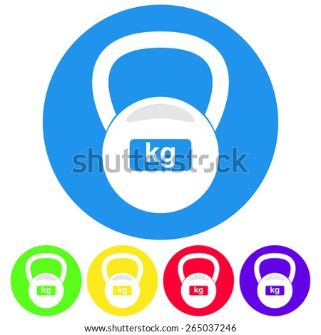 Vector illustration of fitness weight kettlebell icon. Flat design colorful style. - stock vector