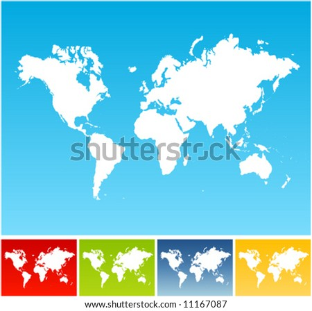 Vector illustration of five different world maps on vivid gradient backgrounds. - stock vector