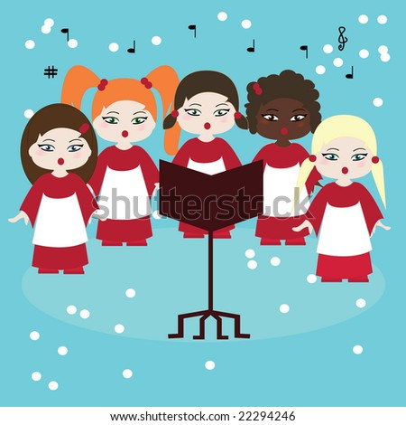 Vector illustration of five girls in a choir singing carols in the snow