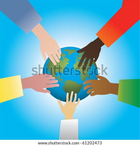 vector illustration of five hands touching earth - stock vector