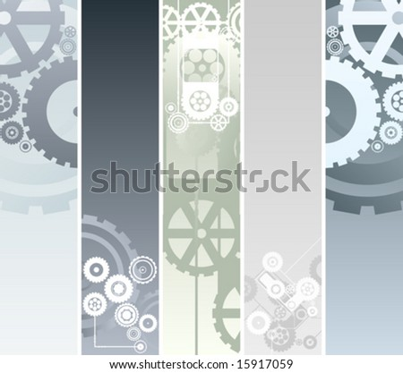 Vector illustration of five vertical or horizontal banners with technological and mechanical pattern. Gearwork and cogs. - stock vector