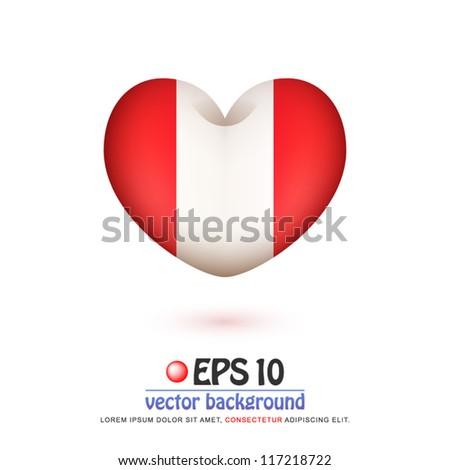 Vector Illustration Flag Peru Valentine Heart Stockvector 117218722