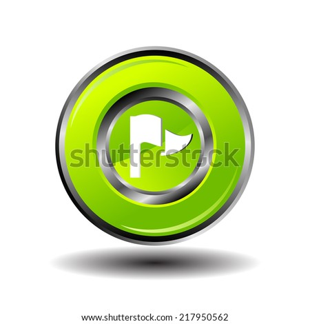 Vector illustration of flag on green button - stock vector