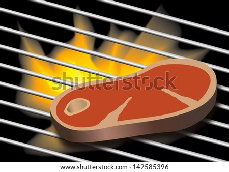 Vector illustration of Flames grilling a tasty juicy and tender steak on the BBQ - stock vector