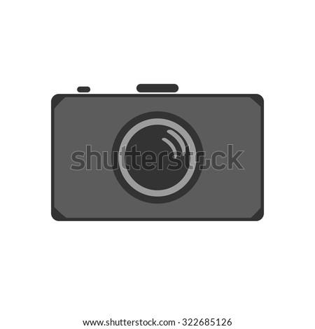 Vector illustration of flat camera icon. - stock vector