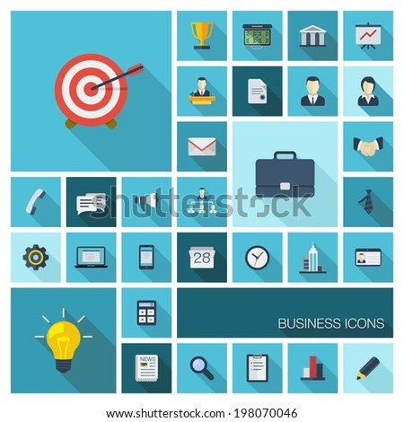 Vector illustration of flat color icons with long shadow. Abstract business background. Concept for communication, marketing research, strategy, mission, analytics and web design. - stock vector