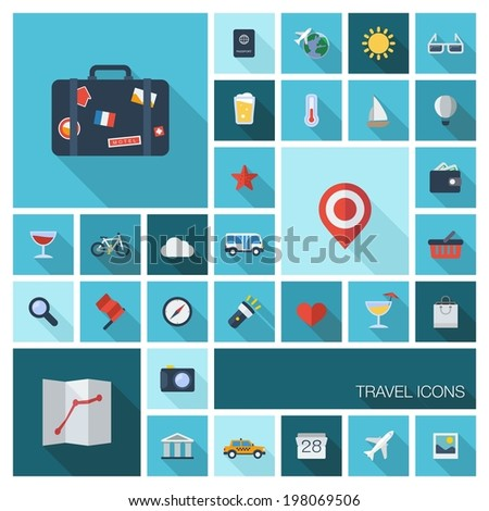 Vector illustration of flat color icons with long shadow. Traveling, tourism, planning summer vacation, airplane, map, luggage symbols - stock vector