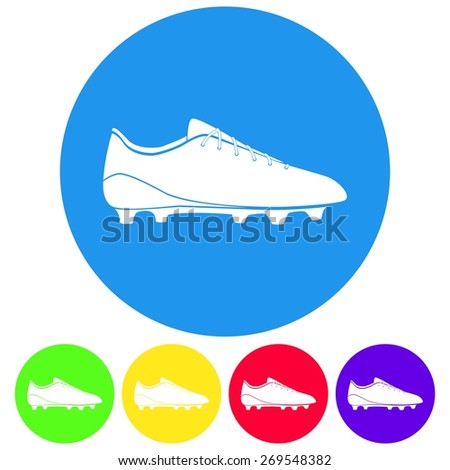 Vector illustration of flat color soccer shoes, american football boots icon set on white background. Circle. - stock vector