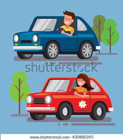 Bmw Mountain View Service >> Vector Illustration Flat Design Driver Car Stock Vector 430880395 - Shutterstock
