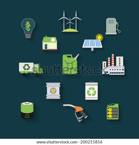 vector illustration of  flat ecology icons concerning to ecology, pollution, energy and sustainable development themes