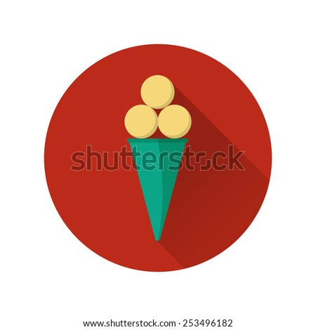 Vector illustration of flat fast food icon. Icon of ice cream for menu, cafe and restaurant. Colorful and long shadow. Element for web design.  - stock vector