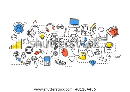 vector illustration of flat line art design of Gaming concept for web design template - stock vector