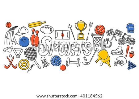 vector illustration of flat line art design of Sports concept - stock vector