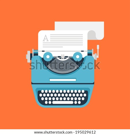 Vector illustration of flat vintage typewriter isolated on orange background. - stock vector
