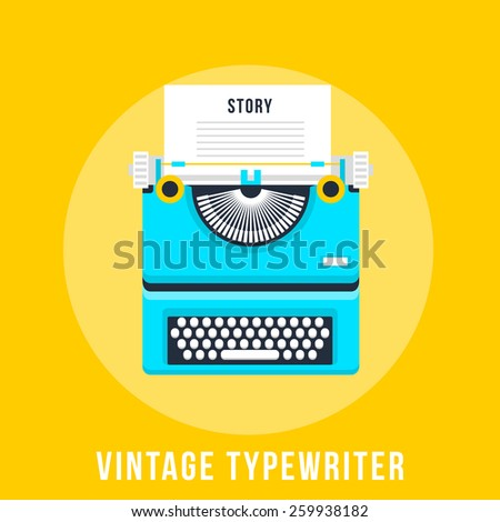 Vector illustration of flat vintage typewriter isolated on yellow background. - stock vector