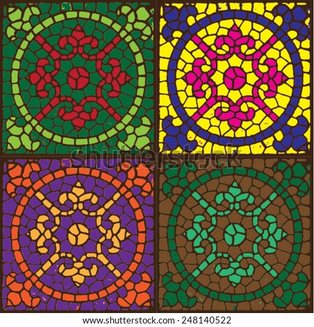 Vector illustration of fleur de lis circle tile. Pattern, background, tiling, seamless. Green, yellow, purple, brown. - stock vector