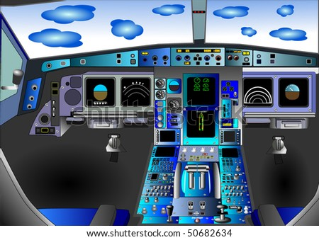 Vector illustration of flight deck or cockpit in an airplane or airbus