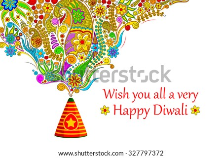 vector illustration of floral design coming out from firecracker in Happy Diwali - stock vector