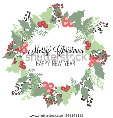 Vector illustration of floral Frame. Merry christmas and happy new year.