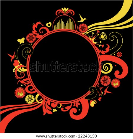 Vector illustration of floral, funky frame on the black background with a blank space for your own text.