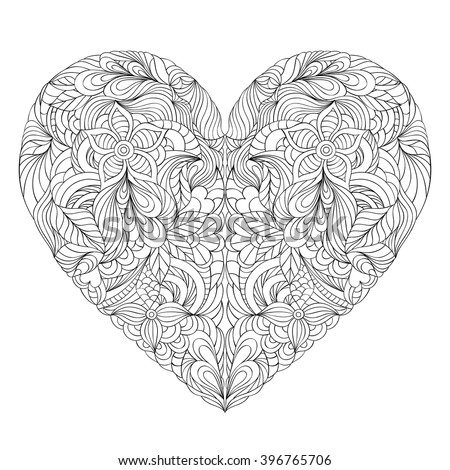 Vector illustration of floral heart on white background. Coloring page for adult. - stock vector