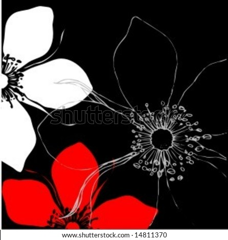 Vector Illustration of floral pattern background with abstract rose flowers in red and white on black - stock vector