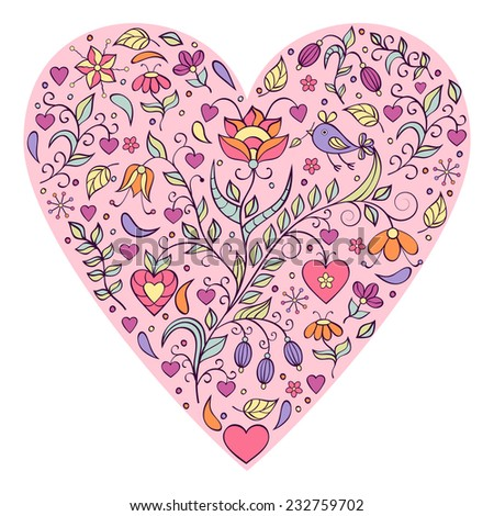 Vector illustration of floral valentines heart isolated on white background.
