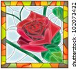 Vector illustration of flower red rose in stained glass window with frame. - stock photo