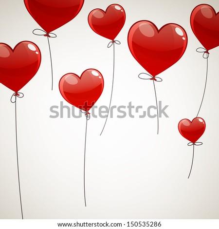 Vector Illustration of Flying Heart Balloons - stock vector