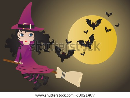 Vector illustration of flying witch with bats