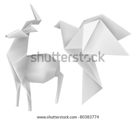 Vector illustration of folded paper models deer and dove. - stock vector
