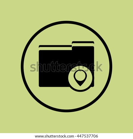 Vector illustration of folder location sign icon on green circle background. - stock vector