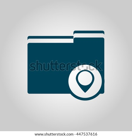 Vector illustration of folder location sign icon on grey background. - stock vector