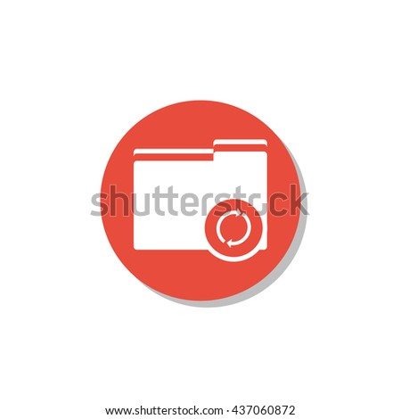 Vector illustration of folder refresh sign icon on red circle background.