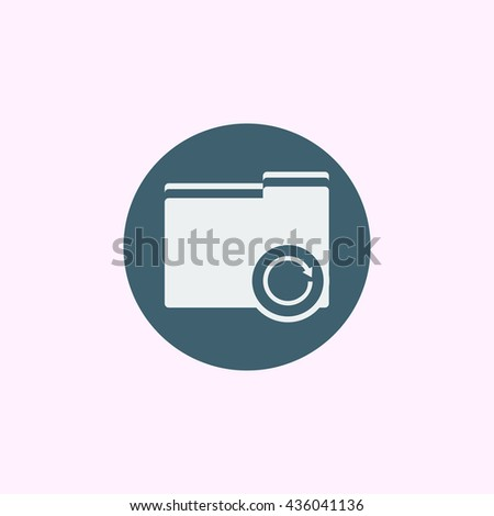 Vector illustration of folder reload sign icon on blue circle background.