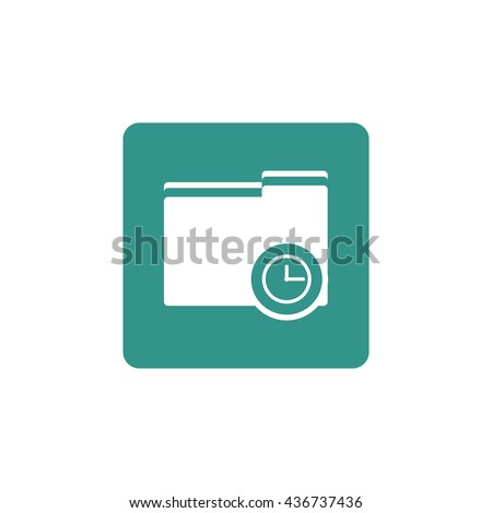 Vector illustration of folder time sign icon on green background.