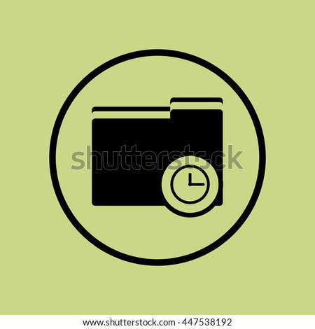 Vector illustration of folder time sign icon on green circle background.